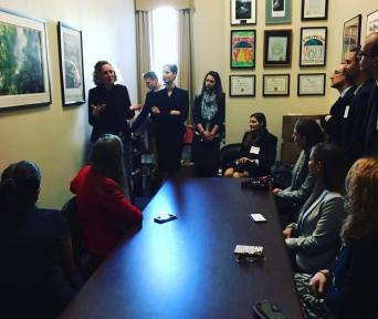 Learning from Melissa Robel, staffer at Rep. Dennis Ross' office about congressional policy procedures