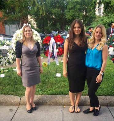 CIP interns Tatjána Turányi, Orsolya Lőrincz and Viktória Katona at the Victims of Communism Wreath Laying Ceremony