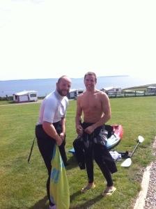 Men with kayaks
