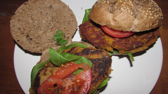 Home-made vegan burgers