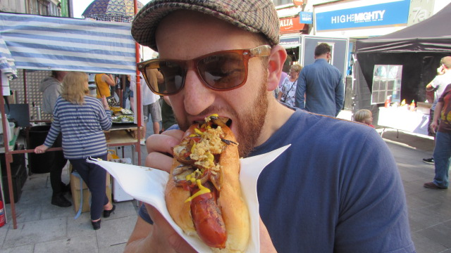 Man with hotdog
