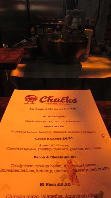The menu at Chucks pop-up