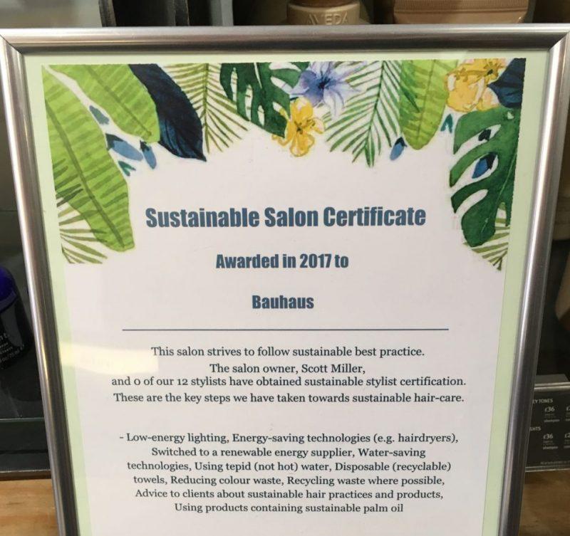 Cardiff sustainable salon certficate