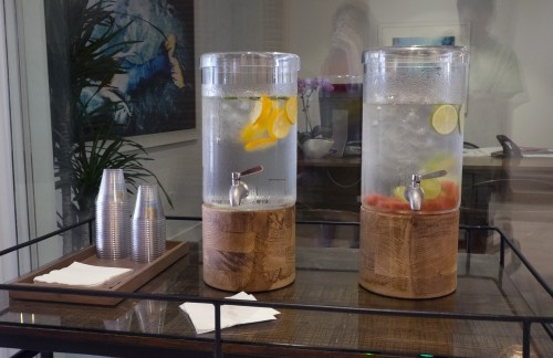 I go to the leasing office everyday to sample the different flavored waters.