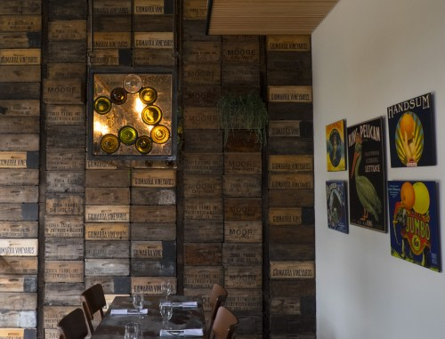 Wine crate wall.