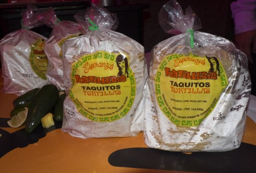 Senor Grubby's uses Esperanza's corn tortillas.