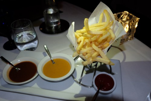 French fries with steak sauces.