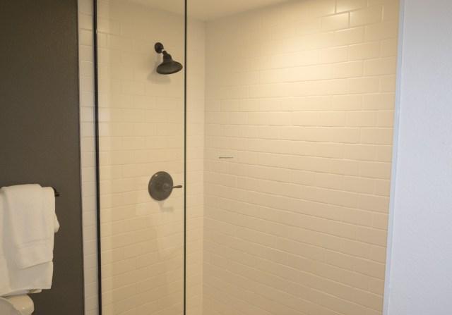 Single glass door shower.