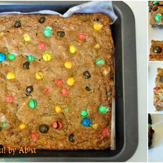 """M&M and Oreo cookie bars"""