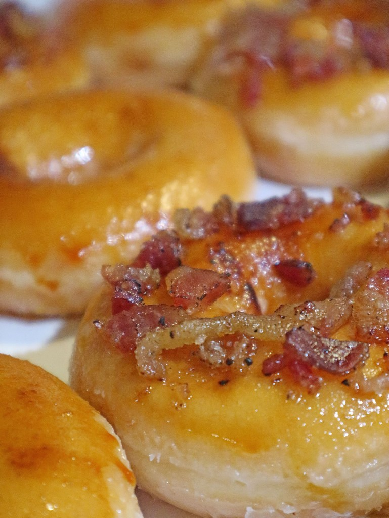 Krispy Kreme's Bacon and Cheese-Filled Ring Doughnut Close Up