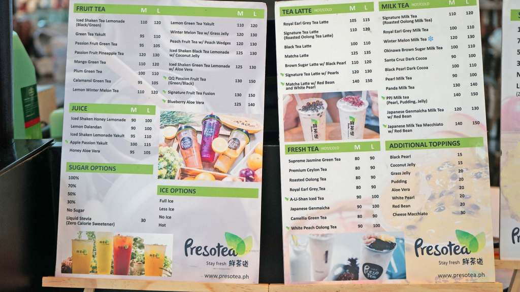 Presotea Philippines Now Open in Robinson's Magnolia - Drinks Menu