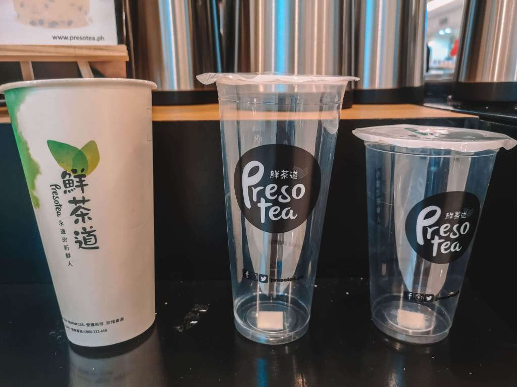 Presotea Philippines Now Open in Robinson's Magnolia - Drink Cup Sizes