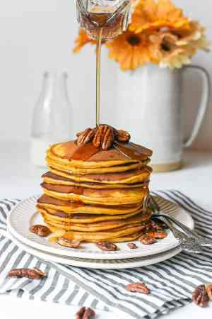 Easy Sweet Potato Mascarpone Bourbon Pancakes