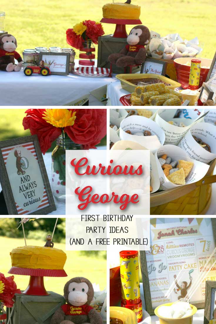 This Curious George birthday party from Hunny I'm Home DIY is so cute! | Baby Birthday Theme Ideas via Kara's Party Ideas | via