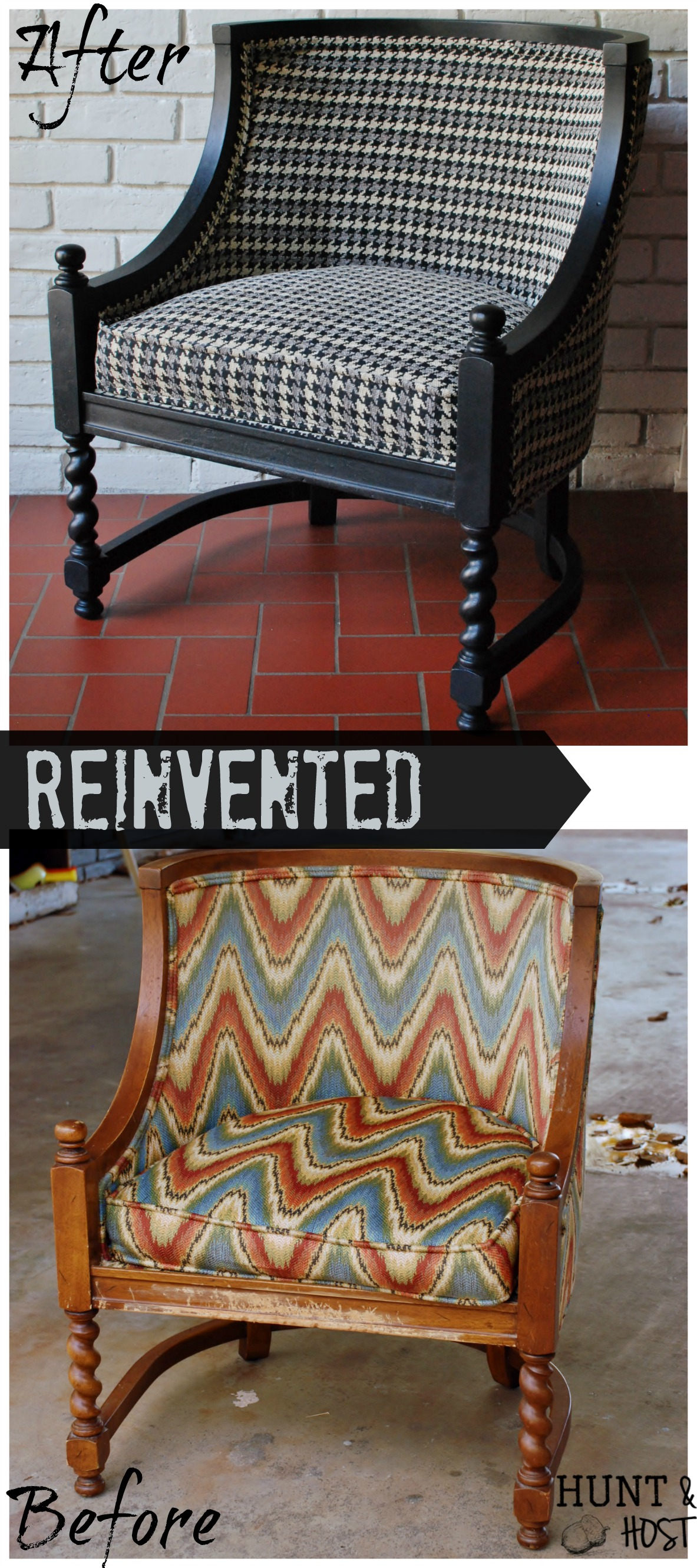 Houndstooth chair brown - Houndstooth Chair Makeover By Me