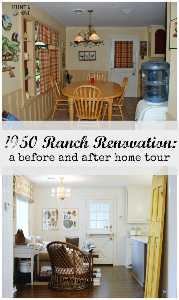 Take a tour of this massive 1950 ranch renovation. It's a before and after kitchen makeover that will make you swoon! www.huntandhost.net