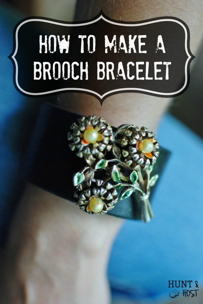 DIY brooch bracelet tutorial, idea for old brooches
