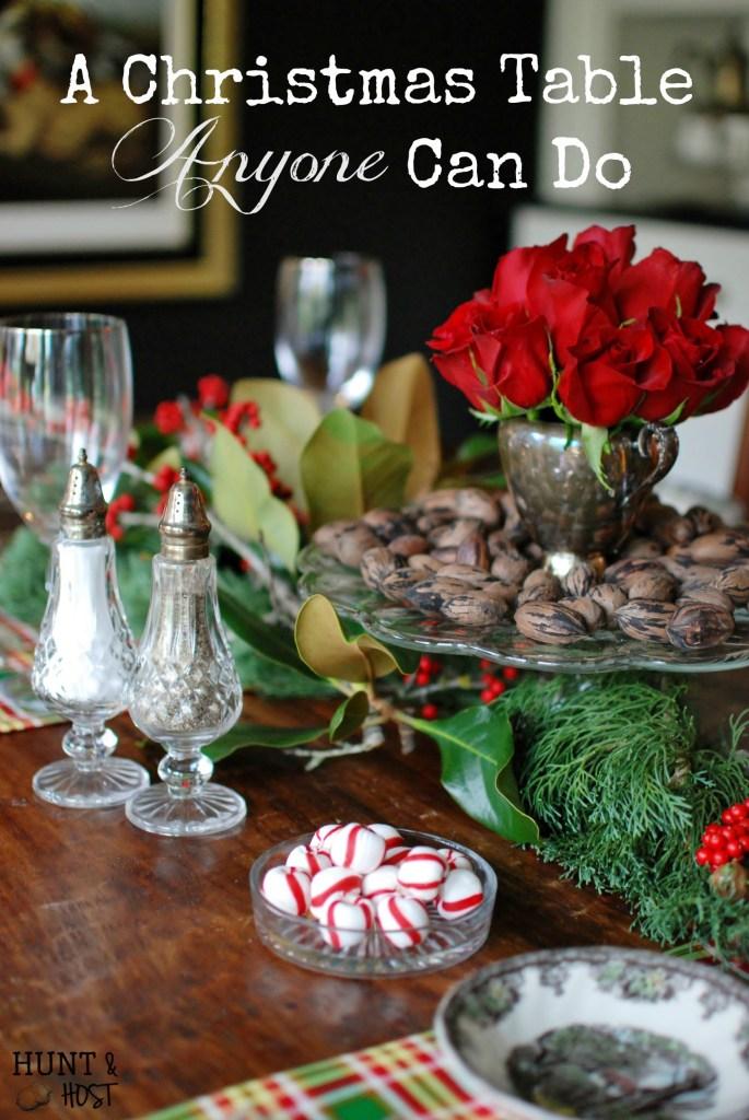 Christmas table magnolia pecan transferware huntandhost.net