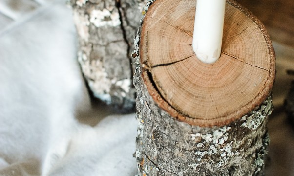 Rustic Winter Tablescape: Log Candlesticks