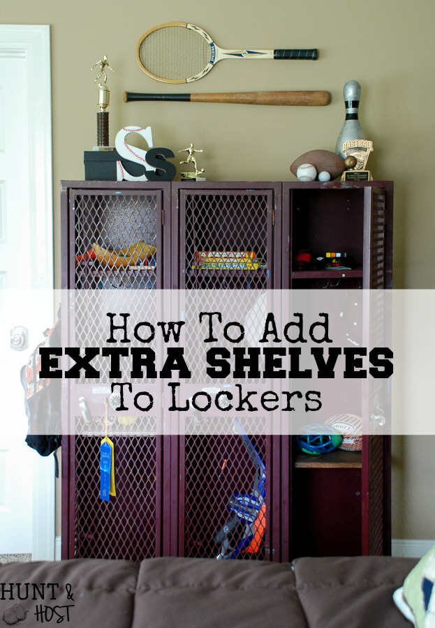 Old School Lockers Or Gym Lockers Make Great Storage But You Can Add More.  Here
