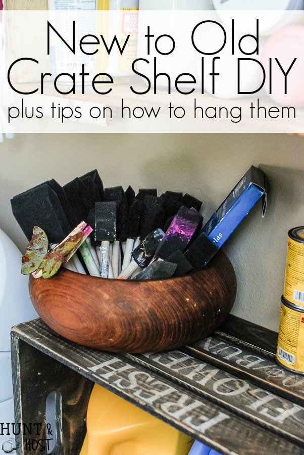 New crates get an old makeover with stain and stencils. Great for extra storage and organizing see an easy tip on how to hang crates without damaging them while still having them sturdy and straight.