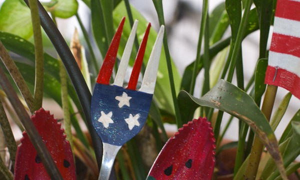 4th of July Painted Flag Fork and Watermelon Spoon