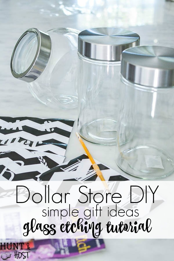 Dollar Store DIY easy gift ideas. Glass jar etching tutorial, dollar store jar filled with bath bombs, perfect for teacher gifts, Christmas gifts or just because! This is the cutest, easy and inexpensive gift ever.