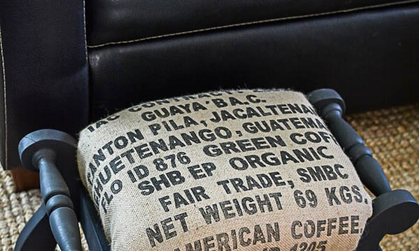 Two Ideas to Save Money on Re-upholstering: Coffee Sack Covered Stool
