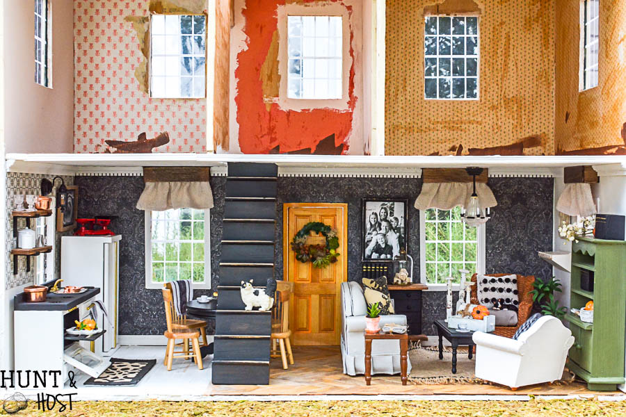 My childhood dollhouse DIY makeover is complete for the dollhouse kitchen and living room! Tons of dollhouse ideas from the One Room Challenge.