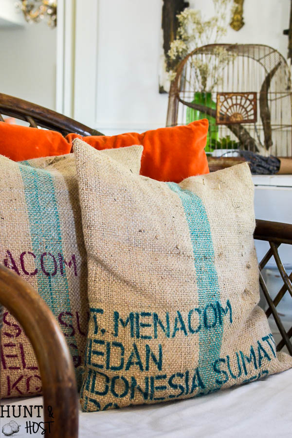 Coffee bean sack pillow covers, an easy and quick DIY tutorial for coffee sack pillows!
