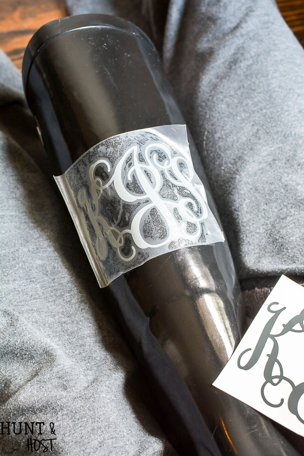 How to make monogram vinyl decals for rain boots and other personalization. Step by step tutorial to make and cut your own monogram vinyl decal.