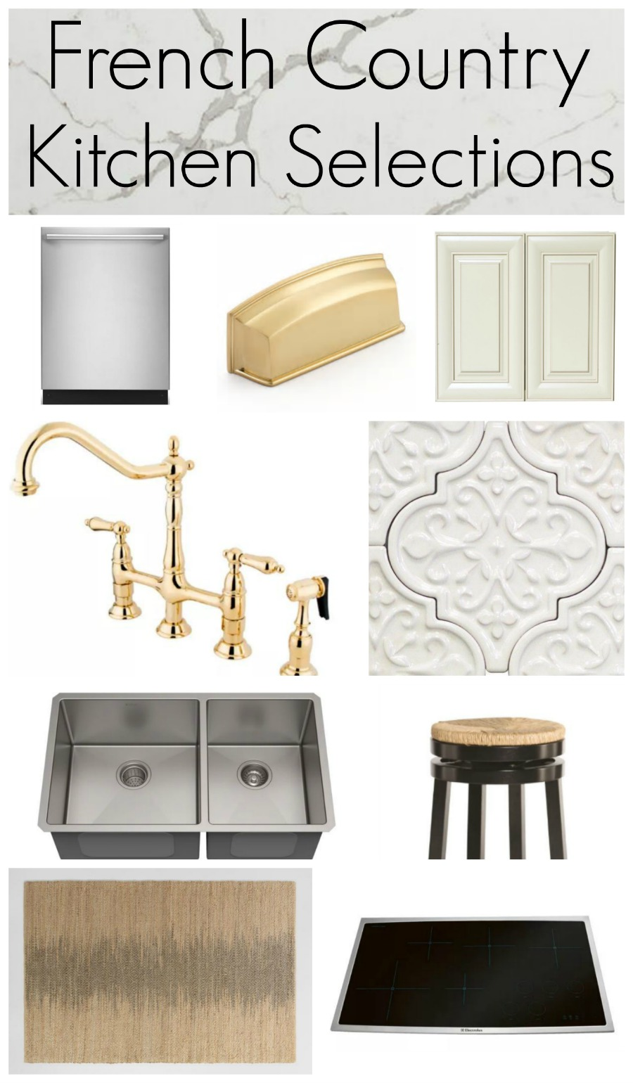 A builder grade home gets a modern French country kitchen remodel. A complete list of selections for your French Country kitchen including tile, countertops, appliances, hardware and accents plus a resource guide for sourcing great products. #frenchcountry #frenchcountrykitchen #resourceguide #kithentile #quartzcountertops #goldfaucet #cottagekitchen #buildergrademakeover #spechouseremodel