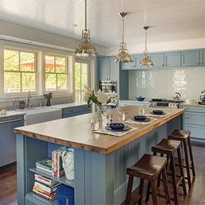 Kitchen island with hardwood countertop