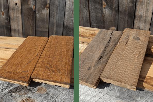 Handscaped versus foot worn hardwood flooring samples