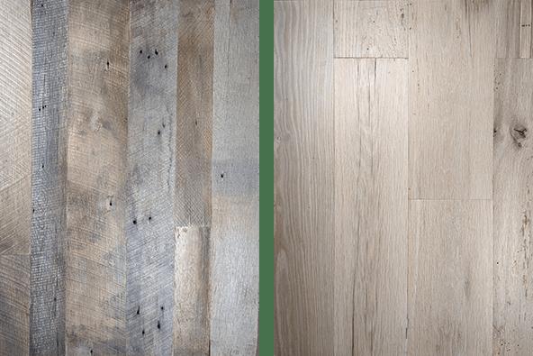 Reclaimed wood sample comparison showing original face versus reswan face