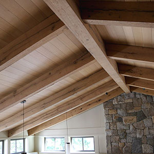 Vaulted ceiling with hardwood timbers