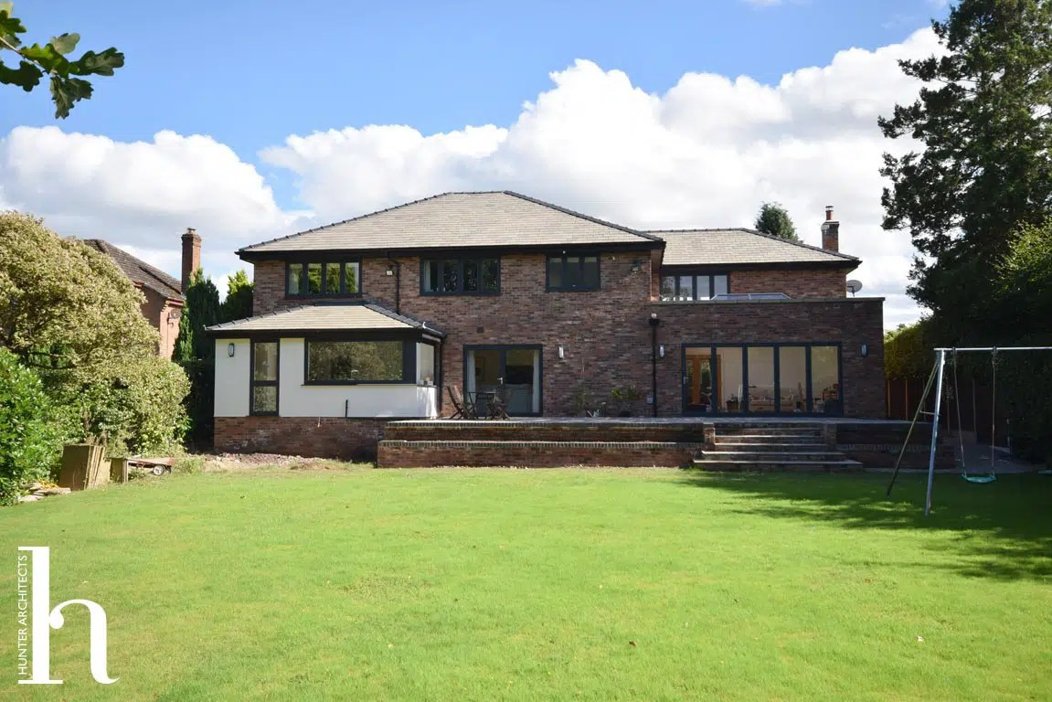 Remodelled Contemporary Rear Elevation in Hale Barns Cheshire