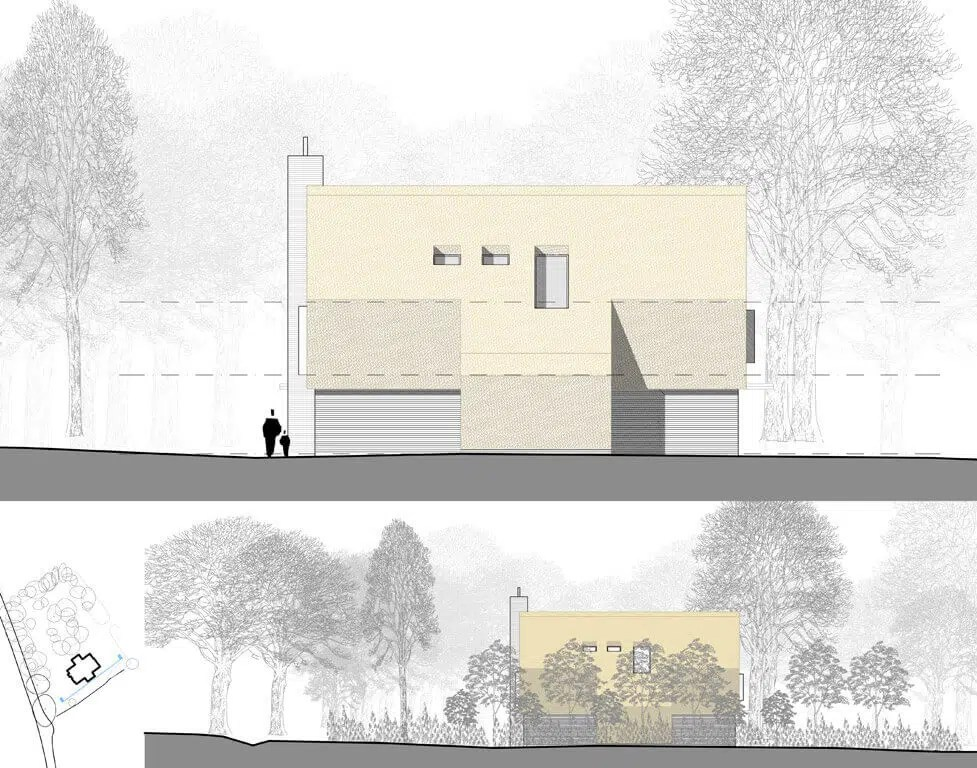 Photomontage of Code for Sustainable Homes Level 6 Self Build Home RIBA Architects