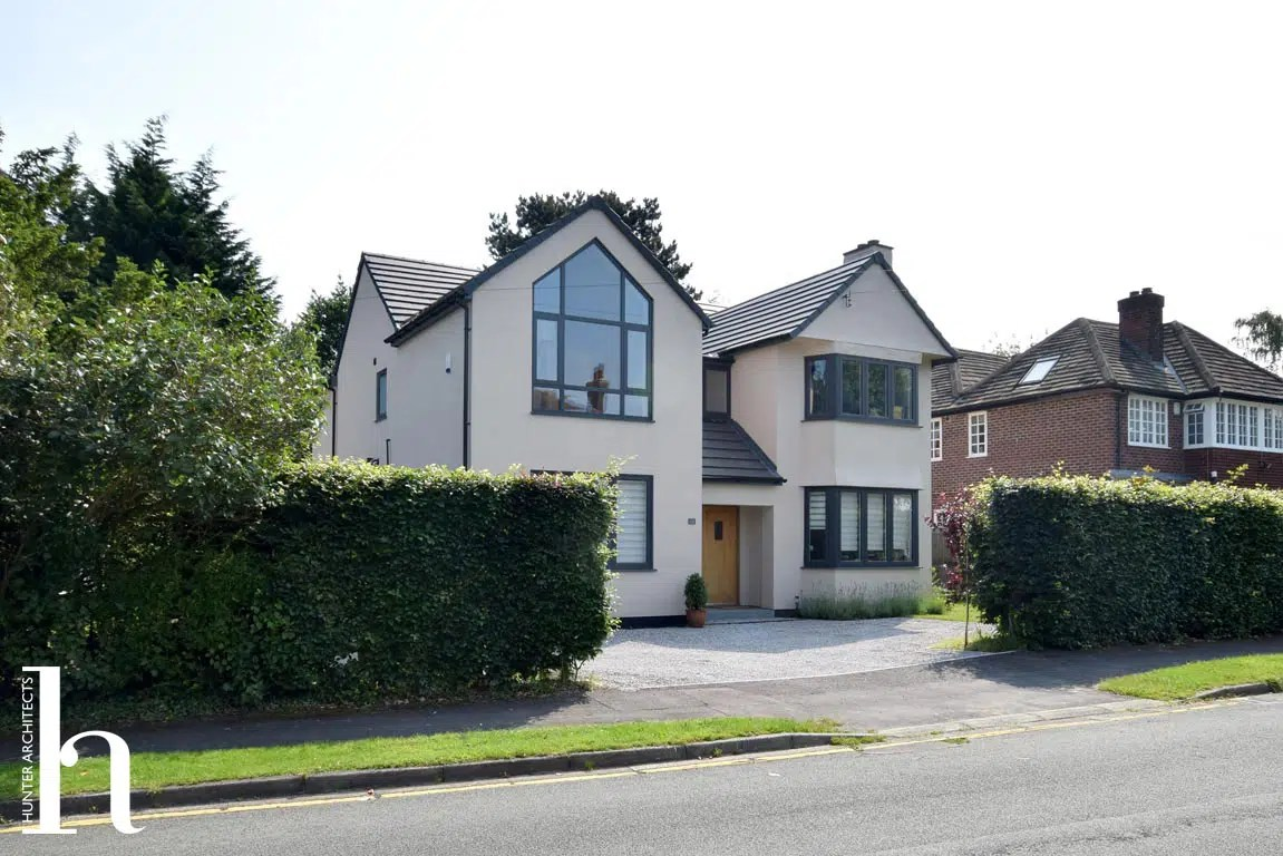 Remodelled Contemporary Front Elevation in Wilmslow Cheshire