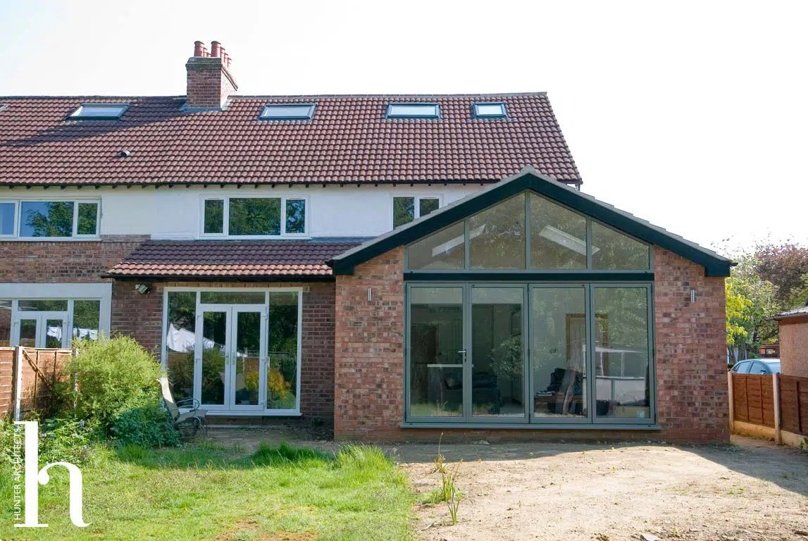 Single storey side extension to a semi-detached house in Sale (Manchester)