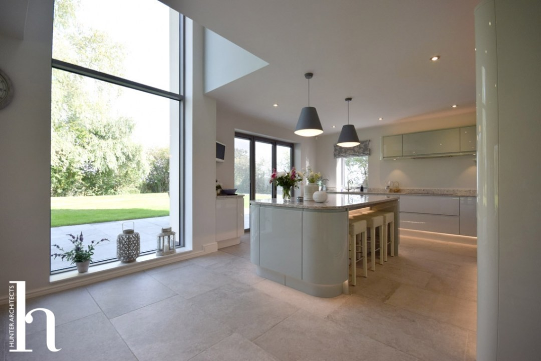 Family Room with contemporary kitchen in North Wales