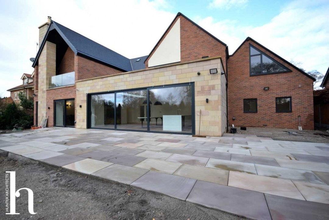 Natural stone walls and patio - RIBA Architects Cheshire Home Design