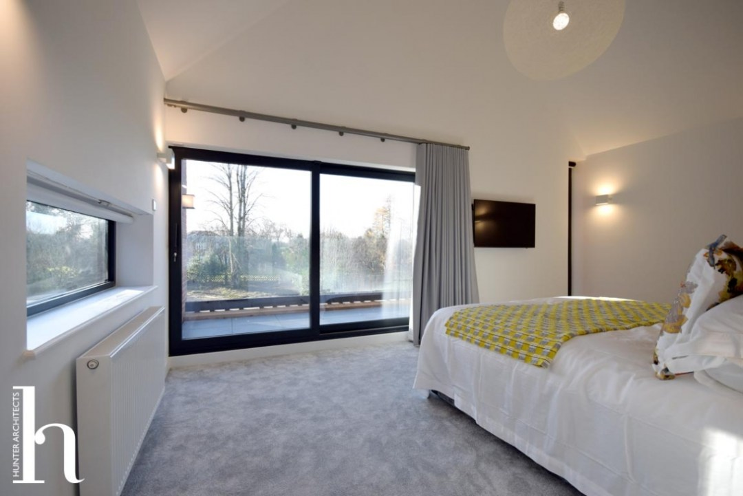 Master Bedroom with views & vaulted ceiling - Self Build Homes Architects