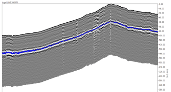 GPR-SLICE allows for topographic corrections of radargrams and drawing soil/concrete/rock layers directly onto radargrams. Layer/horizon detection can also be automated for rapid data interpretation.
