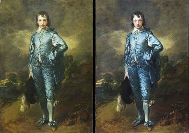 Blue Boy before and after conservation