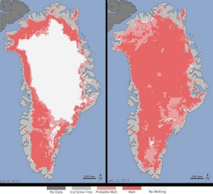Greenland Ice Sheet Melting Increases Dramatically