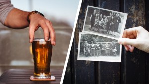 homebrewed beer in glass, genealogy photos