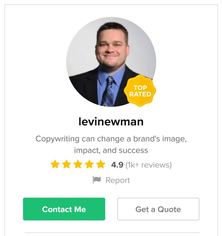 levinewman - Fiverr sellers who make 6 figures a year