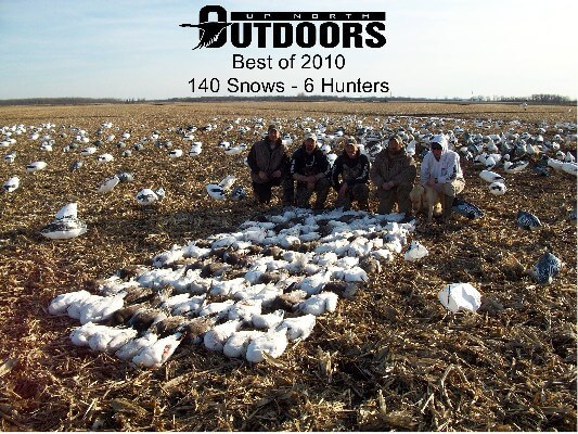 """A screwy end to a screwy season...the last day we hunted in Missouri. The skies opened up and we shot 140 birds. The next day it snowed 10-12"""". The weather was very cruel to us on our 2010 snow goose hunts."""