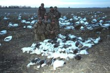 Dave from Sundance Hunt Club in CA treats his guides to a Missouri snow goose hunt. They have snows in CA but hardly any blues. A blue goose is a real trophy for these guys. The 75 bird day they had here isn't so bad either.